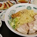 日高屋 - 汁なしラーメン+麺大盛り+ライス大盛り+餃子