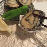 蕎麦茶屋 和久 - 海老真丈は海苔で鳴戸巻き状に