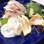 板前寿司 - 刺身三種盛り(縞鯵・蛸・ツブ貝) 1,480円