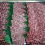 新鮮肉市場フレスコ - 左から「カタサンカク」「ミスジ」「カルビ」