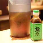 なかめのてっぺん - ソースとお茶