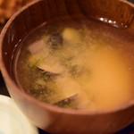 なかめのてっぺん - 【刺身&アジフライ御膳@税込1,280円】しじみ汁