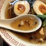 蕎麦屋 山都 - 蕎麦つゆにネギオイルのスープ