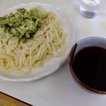 うどん屋 - 料理写真:もりうどん、天ぷら1個(春菊)