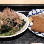 小豆島 大儀 - 小鉢は、じゃこ天とほうれん草のお浸し