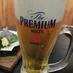 全国産直地鶏×個室居酒屋 静岡地鶏センター - 生ビール(サントリープレミアムモルツ)