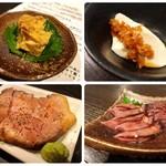 92425628 - 左上:豆腐のもろみ漬け 左下:厚切り炙り肉刺し 右上:冷や奴 右下:ホタルイカの沖漬け