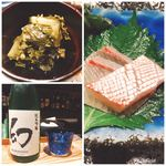 92426590 - 箸休めの葉わさびとヒラマサに日本酒(^^)