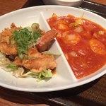 紅虎餃子房 - エビチリ+油淋鶏アップ