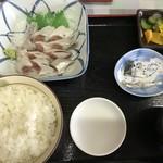 金沢食堂 - イワシ刺身定食(800円)