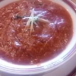 チャハナ - 松きのこチキンカレー (5辛)。  (^0^;) トマトベースで辛さを和ませてくれているようです。