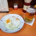 92457575 - アサヒスーパードライの生ビールと無料のお通し