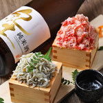肉×魚×日本酒 照 - 『蟹のこぼれ寿司』&『しらすのこぼれ寿司』