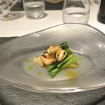 リストランテ カノフィーロ - モンサンミッシェル産ムール貝と小松菜、焼きナスのおひたし