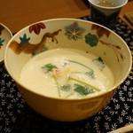 平花とんぼ - 海老入りチーズ茶碗蒸し・・海老味噌を添えて