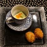 平花とんぼ - 枝豆豆腐とライスコロッケ