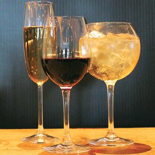 赤・白ワイン飲み放題¥1,480でお楽しみ頂けます。