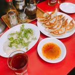 餃子の店 蘭州 - 水餃子+香菜、焼き餃子×2、紹興酒