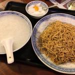 92538809 - 嘉賓(カキソース和えソバと牛肉入おかゆ)