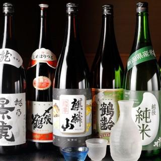 <越後を中心に取り揃えた日本酒>