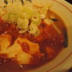 92573438 - 麻婆豆腐は辛味噌餡で、大きめの豆腐。  量があって良心的。