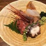 日本料理 香せり - 甘エビ、蛸、ヒラメ、マグロ赤貝のお造り