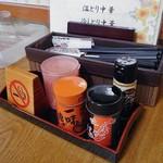 重作 - 卓上に常備された調味料類