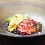 里山 - 三田牛ハネシタの素麺仕立て  出汁のジュレ  雲丹、山葵