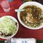 菜苑 - 「純レバ丼ミニサイズ&ラーメン」1000円