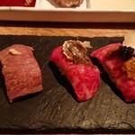 表参道焼肉 KINTAN - 和牛寿司の3種食べ比べ!