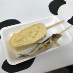 山元馬場商店 - だし巻き&若鮎塩焼 各100円(税込)