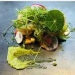 ポンドールイノ - 愛媛県産ハモのベニエ 天使海老と大葉包み ディル風味のマユネーズソース ラタトゥイユと共に