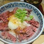 92626584 - 究極のローストビーフ丼ご飯大盛と味噌汁