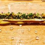 92630616 - (前菜その1)低温調理の秋刀魚と焼きナスのピューレ