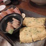 産直海鮮で宴会 すきずき - オードブル3点(ハムカツ/長いもたまり漬け/しらす玉子)
