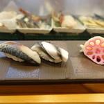 大塚 寿し常 - 生〆鯖(200円)、小肌(150円)