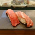 大塚 寿し常 - 本鮪中トロ(350円)本鮪大トロ(480円)