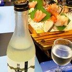 9265210 - 六種の刺身舟盛り お酒 吟醸 銀嶺立山