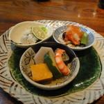 志蕎庵 江月 - 旬の料理三種盛り