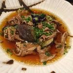 三枡三蔵 - 茄子と牛肉の煮浸し