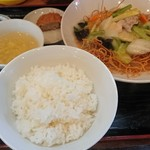 味楽 - 日替わり定食(揚げそば)