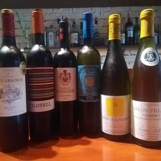 数十種のワインからお料理に合うワインをご提供致します。