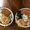 手打ちうどん いち - 料理写真:天ぷら420円と肉天わか玉640円
