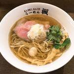 楓 - 某日の限定メニュー 魚介出汁100%ラーメン塩味 たしか750円だったかと。 スープは魚介の薫りがハンパない!あっさり和風味です。