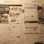 キッチン&マーケット - イタリア食材メインの市場「メルカ」にある、ピッツァ&パスタ専門ダイニング、店内イートイン用の新聞紙風メニュー(その1)