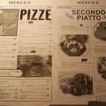 キッチン&マーケット - イタリア食材メインの市場「メルカ」にある、ピッツァ&パスタ専門ダイニング、店内イートイン用の新聞紙風メニュー(その2)