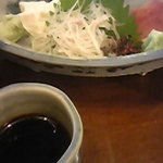 鳥居茶屋 - (上)を注文すると鯉のあらい&湯葉刺もセット。