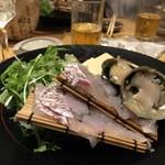 梅田燈花 - 5500円の飲み放題コースより小鍋 紀州鱧  活け鮑  紅葉鯛の雲丹しゃぶ小鍋