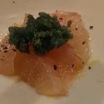 Osuteriabajiru - ソイのカルパッチョ、緑色は甘エビの卵