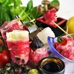東京料理 ゑの木 - 秋川牛 肉巻き野菜串